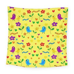 Yellow Cute Birds And Flowers Pattern Square Tapestry (large) by Valentinaart