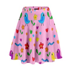 Pink Cute Birds And Flowers Pattern High Waist Skirt