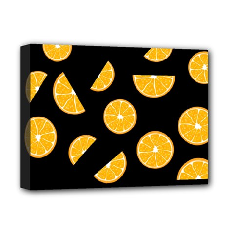 Oranges Pattern   Black Deluxe Canvas 16  X 12   by Valentinaart