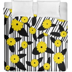 Yellow floral pattern Duvet Cover Double Side (King Size) by Valentinaart