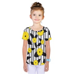 Yellow floral pattern Kids  One Piece Tee by Valentinaart