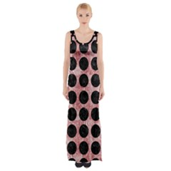 Circles1 Black Marble & Red & White Marble (r) Maxi Thigh Split Dress by trendistuff