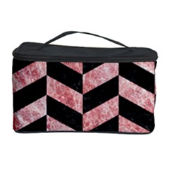 Chevron1 Black Marble & Red & White Marble Cosmetic Storage Case