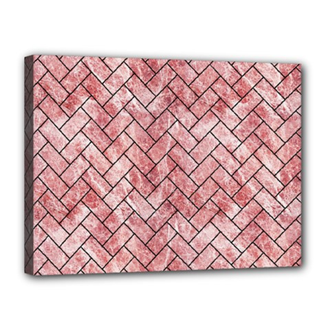 Brick2 Black Marble & Red & White Marble (r) Canvas 16  X 12  (stretched) by trendistuff