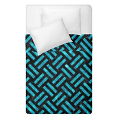Woven2 Black Marble & Turquoise Marble Duvet Cover Double Side (single Size) by trendistuff