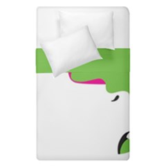 Image Of A Woman s Face Green White Duvet Cover Double Side (single Size) by Jojostore
