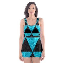 Triangle3 Black Marble & Turquoise Marble Skater Dress Swimsuit by trendistuff