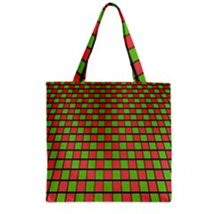 Green Red Box Zipper Grocery Tote Bag by Jojostore