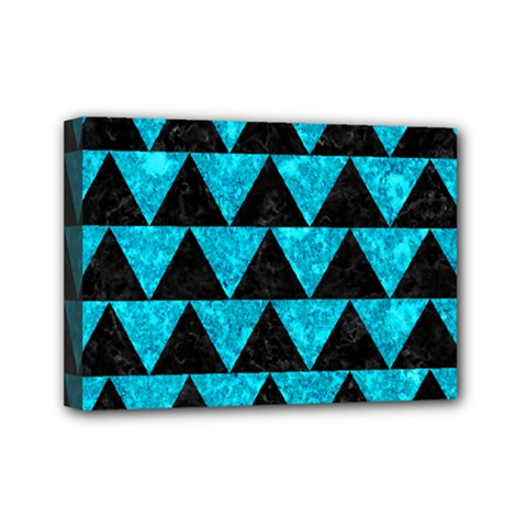 Triangle2 Black Marble & Turquoise Marble Mini Canvas 7  X 5  (stretched) by trendistuff