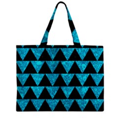 Triangle2 Black Marble & Turquoise Marble Zipper Mini Tote Bag by trendistuff