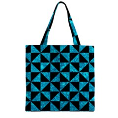 Triangle1 Black Marble & Turquoise Marble Zipper Grocery Tote Bag by trendistuff