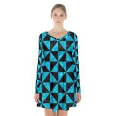 Triangle1 Black Marble & Turquoise Marble Long Sleeve Velvet V Neck Dress