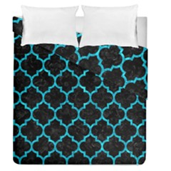 Tile1 Black Marble & Turquoise Marble Duvet Cover Double Side (queen Size) by trendistuff