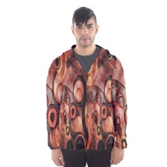 Orange Black Abstract Artwork Hooded Wind Breaker (men) by Jojostore