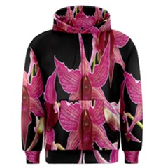 Orchid Flower Branch Pink Exotic Black Men s Zipper Hoodie by Jojostore