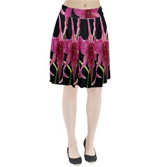 Orchid Flower Branch Pink Exotic Black Pleated Skirt by Jojostore