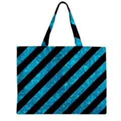 Stripes3 Black Marble & Turquoise Marble Zipper Mini Tote Bag by trendistuff