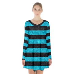 Stripes2 Black Marble & Turquoise Marble Long Sleeve Velvet V Neck Dress