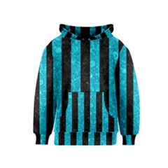 Stripes1 Black Marble & Turquoise Marble Kids  Pullover Hoodie