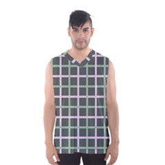 Pink And Green Tiles On Dark Green Men s Basketball Tank Top by Jojostore