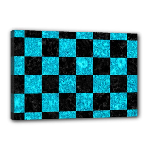Square1 Black Marble & Turquoise Marble Canvas 18  X 12  (stretched) by trendistuff