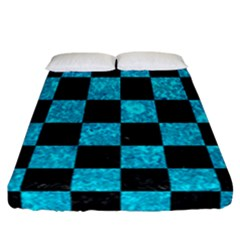 Square1 Black Marble & Turquoise Marble Fitted Sheet (california King Size)