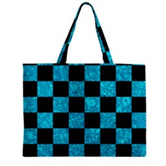 Square1 Black Marble & Turquoise Marble Zipper Mini Tote Bag by trendistuff