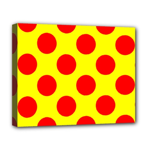 Red Circle Yellow Deluxe Canvas 20  X 16   by Jojostore
