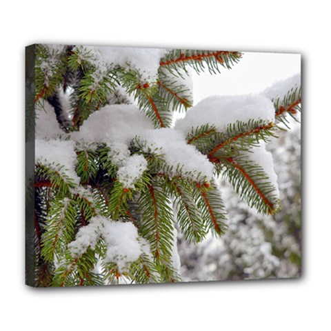 Brad Snow Winter White Green Deluxe Canvas 24  X 20   by Amaryn4rt