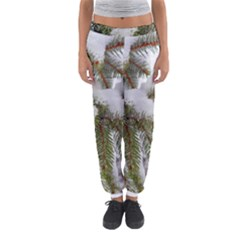 Brad Snow Winter White Green Women s Jogger Sweatpants by Amaryn4rt