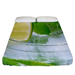 Cold Drink Lime Drink Cocktail Fitted Sheet (queen Size) by Amaryn4rt