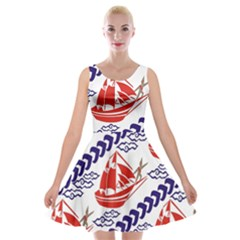 Sailing Boat Velvet Skater Dress by Jojostore