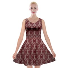 Red Vintage Velvet Skater Dress by Jojostore