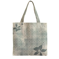 Shadow Flower Gray Zipper Grocery Tote Bag by Jojostore