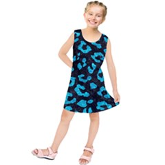 Skin5 Black Marble & Turquoise Marble (r) Kids  Tunic Dress