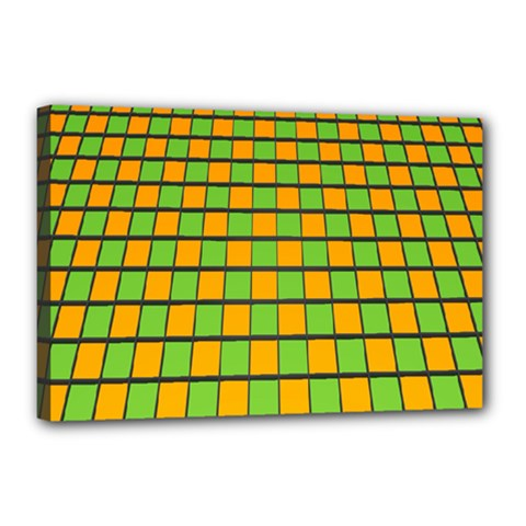 Tile Of Yellow And Green Canvas 18  X 12  by Jojostore