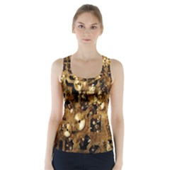 Steampunk Grunge Gold Cogs Racer Back Sports Top