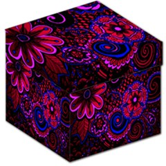Sunset Floral Flower Red Pink Jewel Box Storage Stool 12   by Jojostore