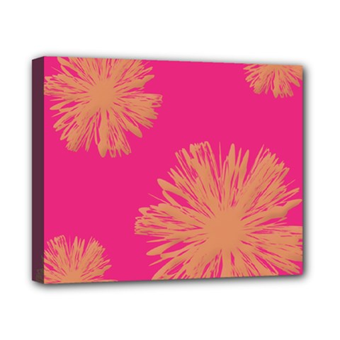 Yellow Flowers On Pink Background Pink Canvas 10  X 8  by Jojostore