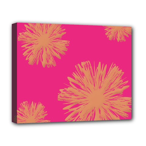 Yellow Flowers On Pink Background Pink Deluxe Canvas 20  X 16   by Jojostore