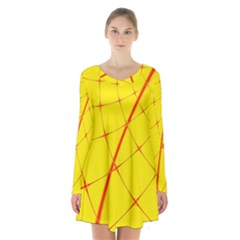 Yellow Redmesh Long Sleeve Velvet V Neck Dress by Jojostore