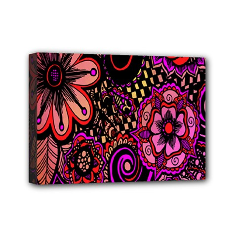 Sunset Floral  Flower Purple Mini Canvas 7  X 5  by Jojostore