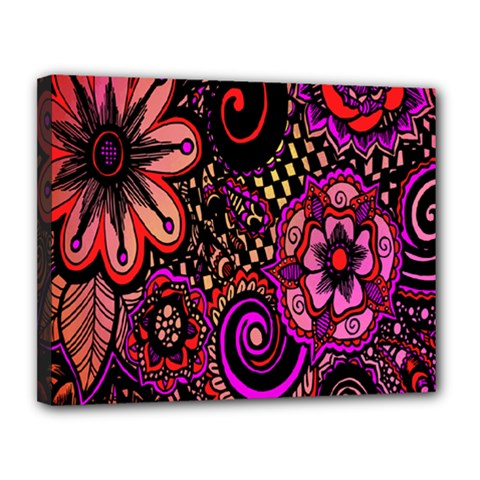Sunset Floral  Flower Purple Canvas 14  X 11  by Jojostore
