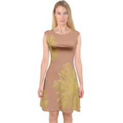 Flower Yellow Brown Capsleeve Midi Dress by Jojostore