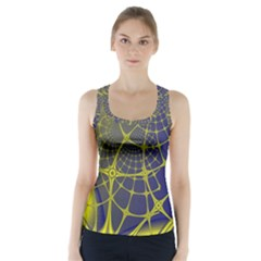 Futuristic Looking Fractal Graphic A Mesh Of Yellow And Blue Rounded Bars Racer Back Sports Top by Jojostore