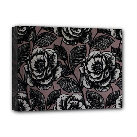 Gray Flower Rose Deluxe Canvas 16  X 12   by Jojostore