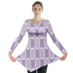 Gray Purple Long Sleeve Tunic  by Jojostore