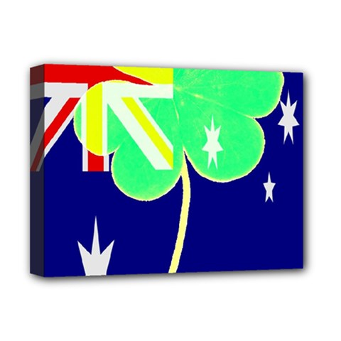 Irish Australian Australia Ireland Shamrock Funny St Patrick Flag Deluxe Canvas 16  X 12   by yoursparklingshop