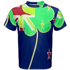 Irishshamrock New Zealand Ireland Funny St Patrick Flag Men s Cotton Tee