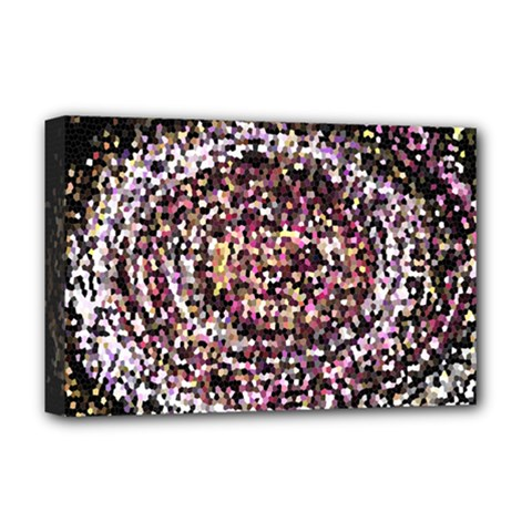 Mosaic Colorful Abstract Circular Deluxe Canvas 18  X 12   by Amaryn4rt